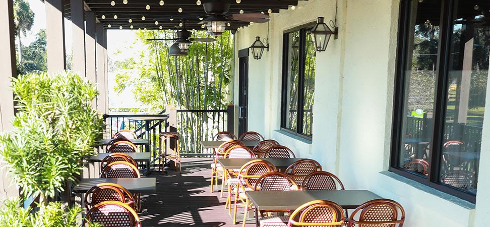 Sunlit patio at La Cuisine